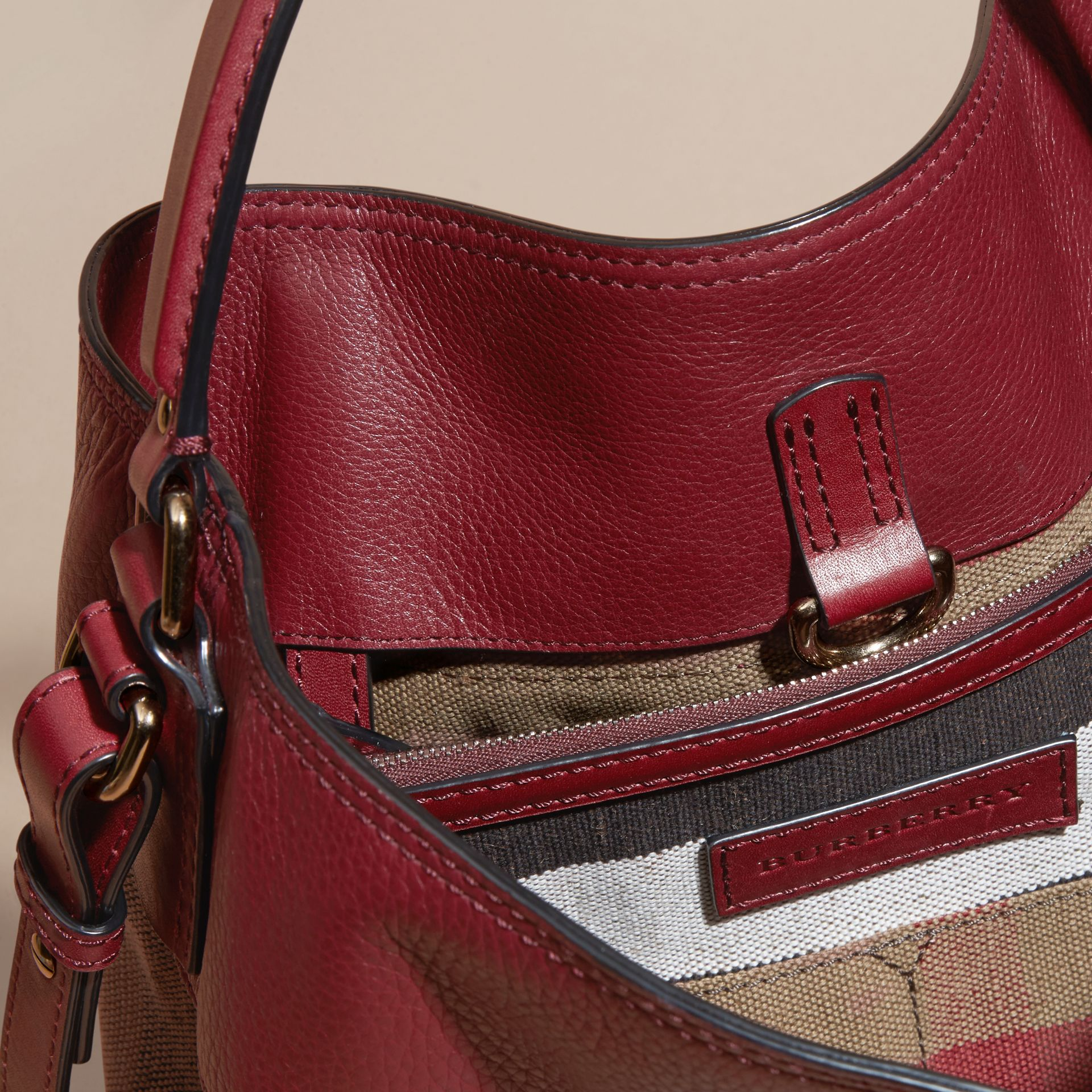 Burgundy red The Medium Ashby in Canvas Check and Leather Burgundy Red - gallery image 5
