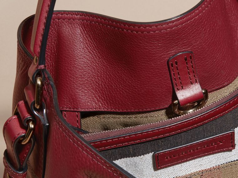 Burgundy red The Medium Ashby in Canvas Check and Leather Burgundy Red - cell image 4
