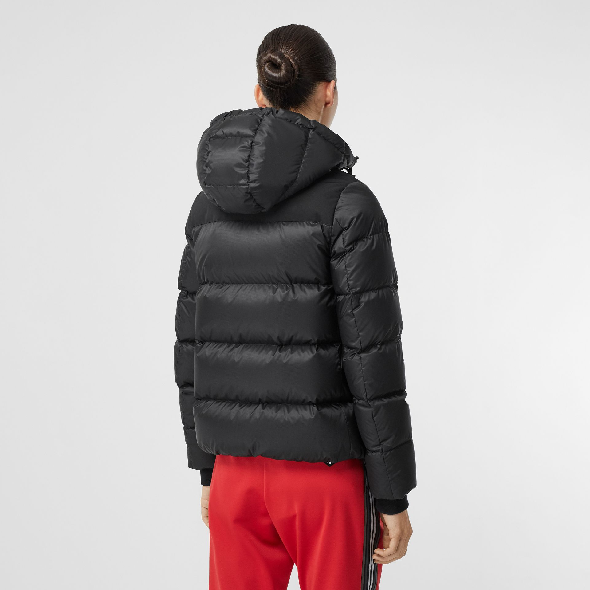 Logo Graphic Hooded Puffer Jacket in Black - Women | Burberry United Kingdom - gallery image 1