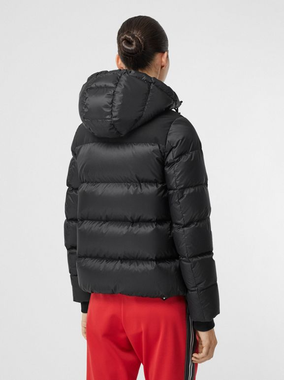 Logo Graphic Hooded Puffer Jacket in Black - Women | Burberry United Kingdom - cell image 1