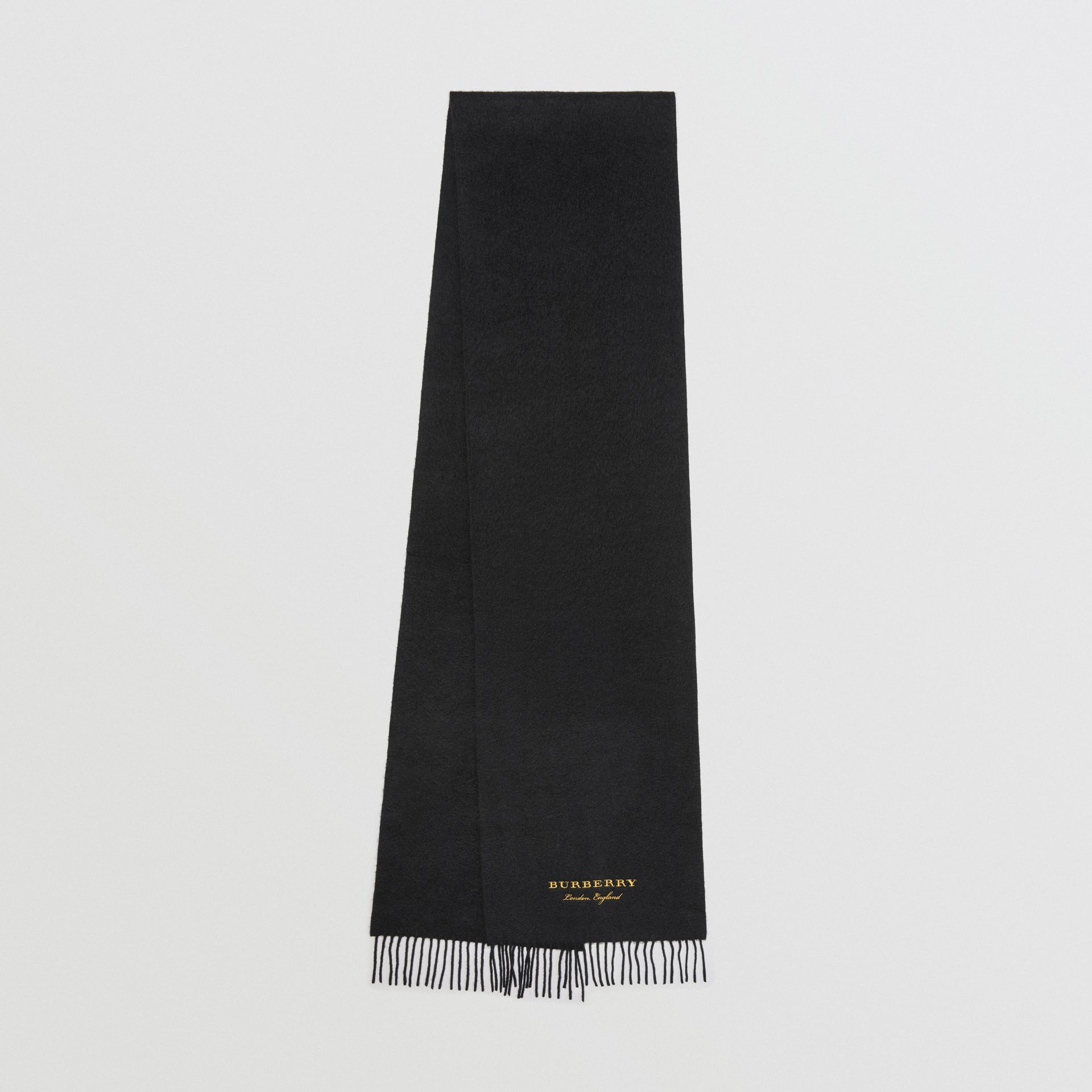 Embroidered Cashmere Fleece Scarf in Black | Burberry Australia - gallery image 0