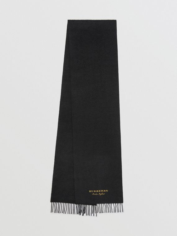 Embroidered Cashmere Fleece Scarf in Black