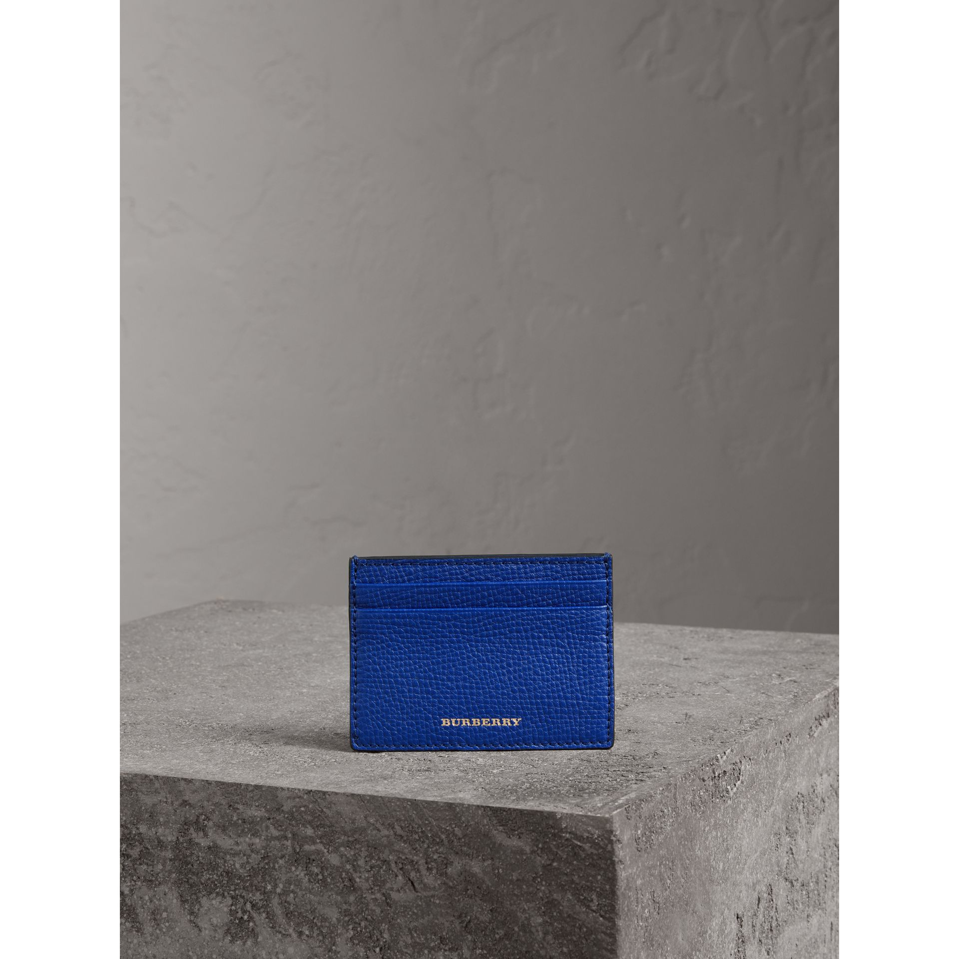 House Check and Grainy Leather Card Case in Deep Blue | Burberry - gallery image 3