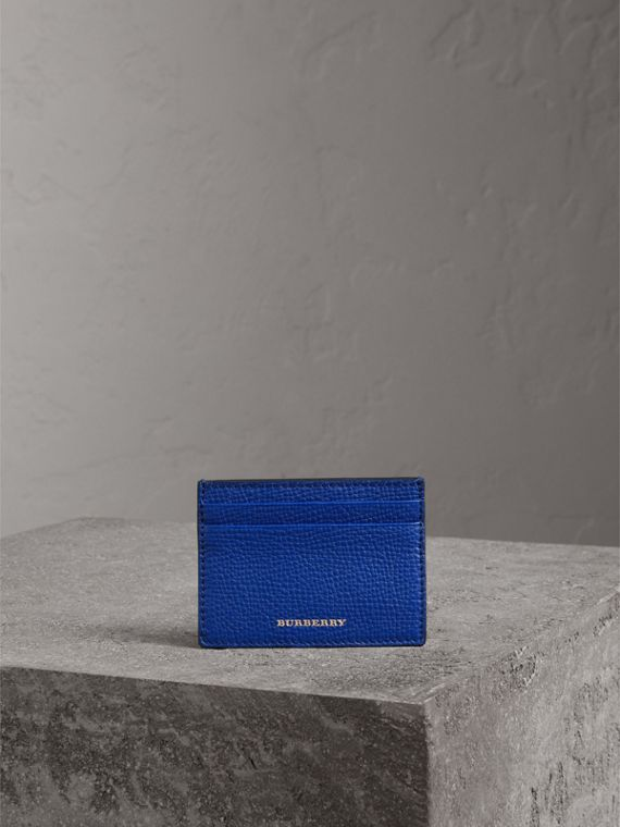 House Check and Grainy Leather Card Case in Deep Blue | Burberry - cell image 3