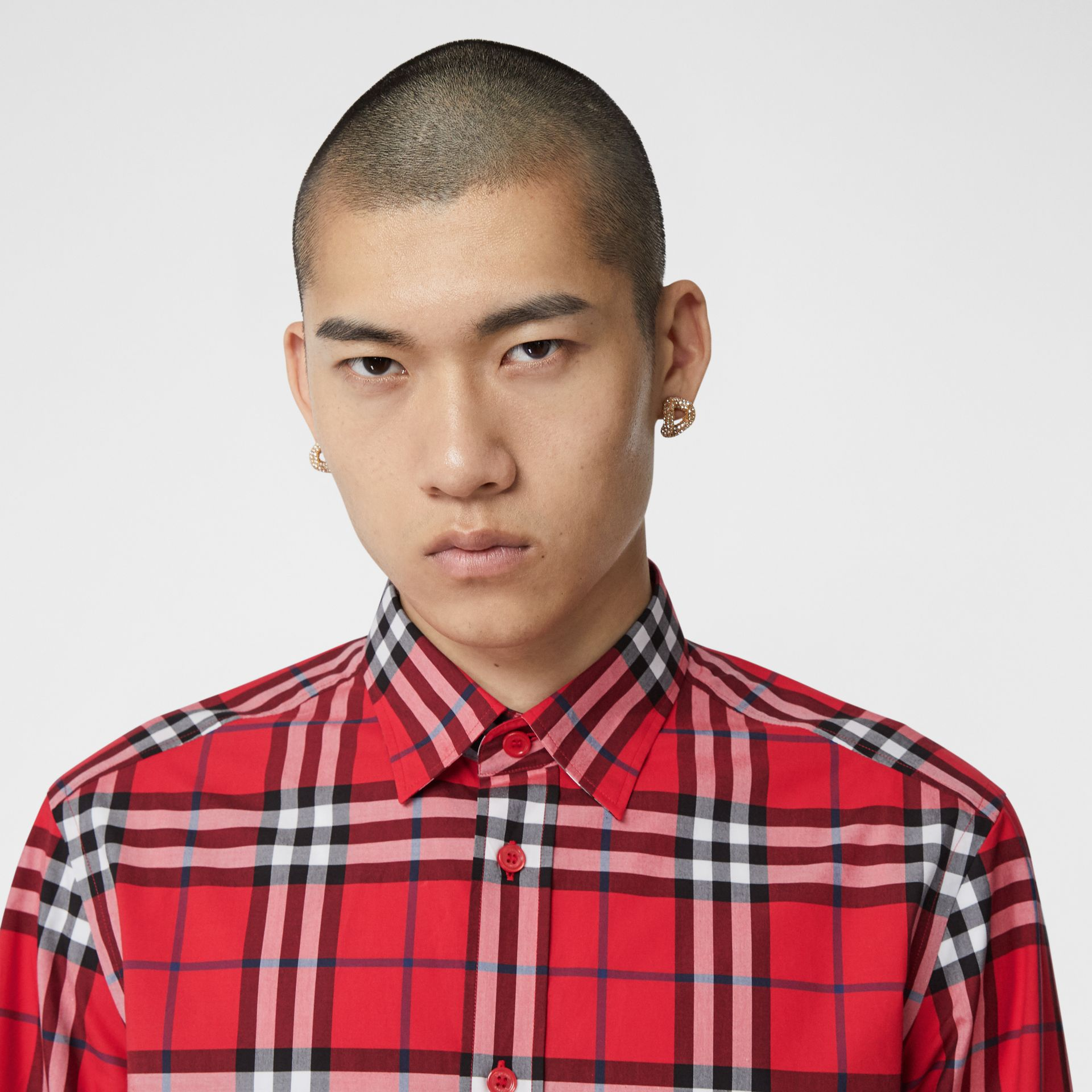 Check Cotton Poplin Shirt in Bright Red - Men | Burberry Hong Kong S.A.R - gallery image 1
