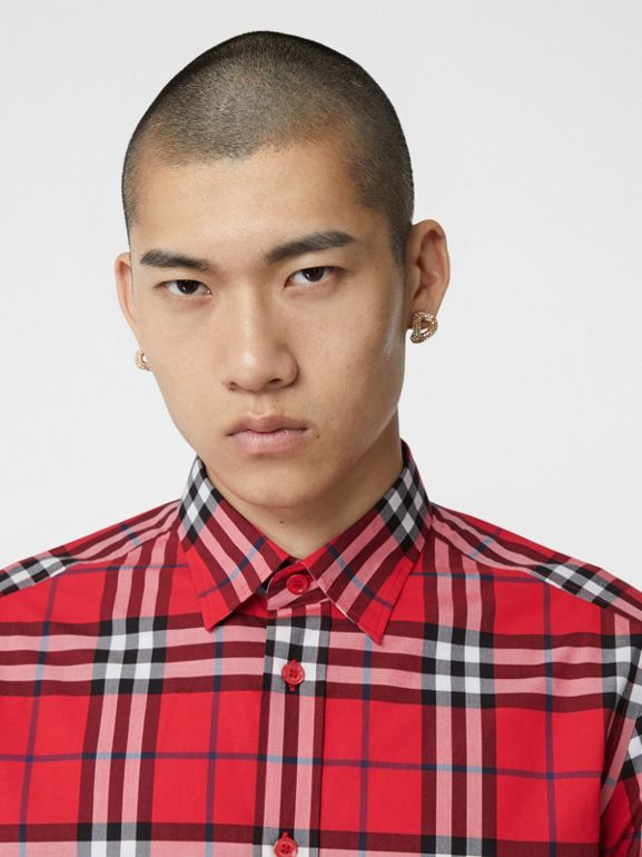 Check Cotton Poplin Shirt in Bright Red - Men | Burberry Hong Kong S.A.R - cell image 1
