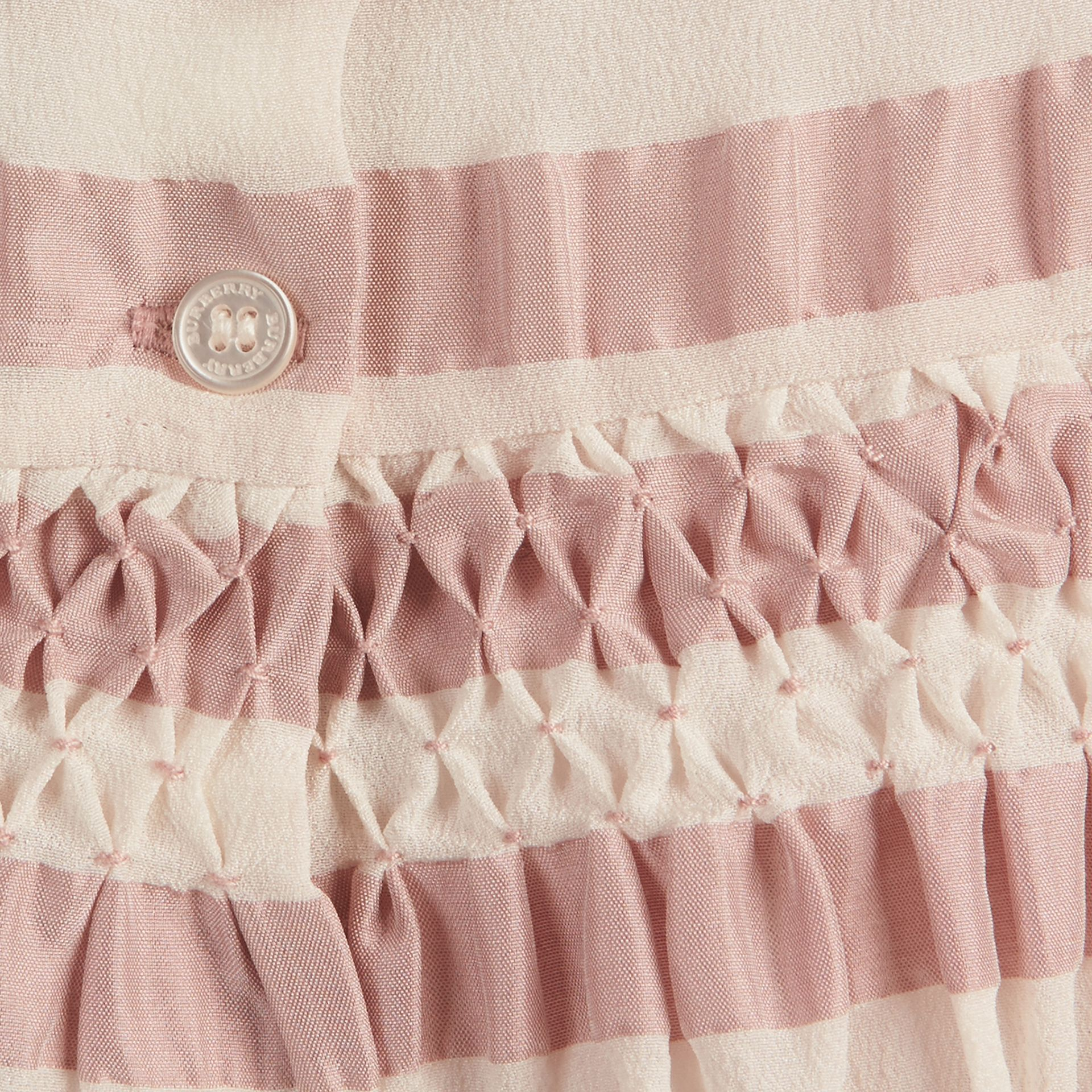 Light copper pink Striped Silk and Cotton Dress - gallery image 3