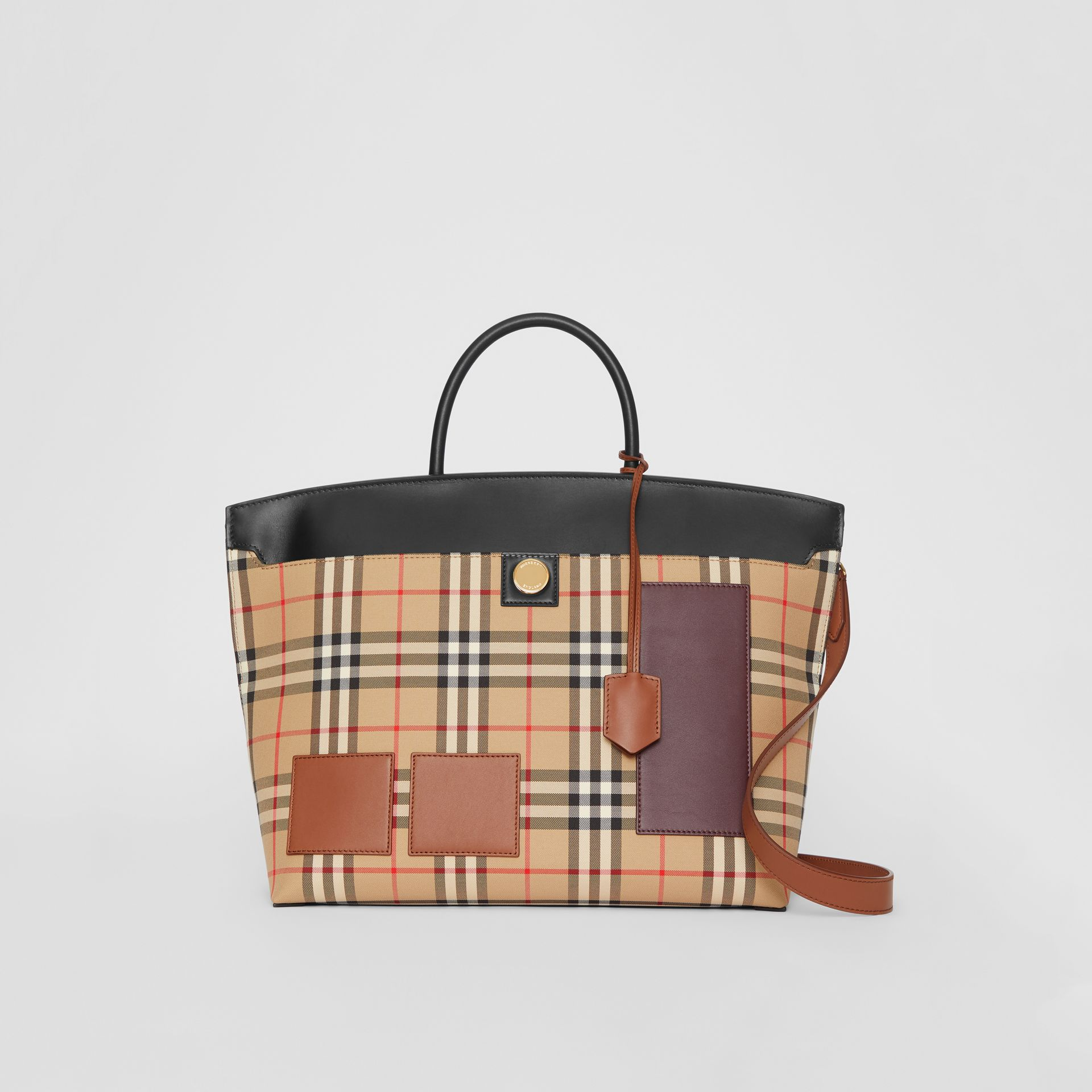 Vintage Check and Leather Society Top Handle Bag in Archive Beige - Women | Burberry - gallery image 0
