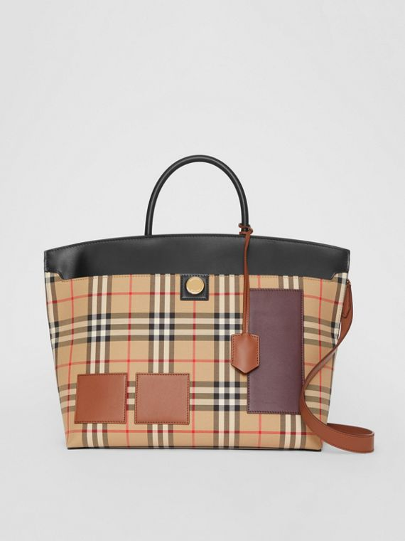 Borsa Society con motivo Vintage check e finiture in pelle (Beige Archivio)