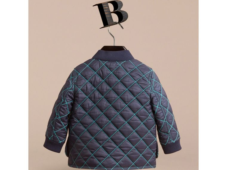 Topstitched Quilted Jacket in Navy | Burberry - cell image 2