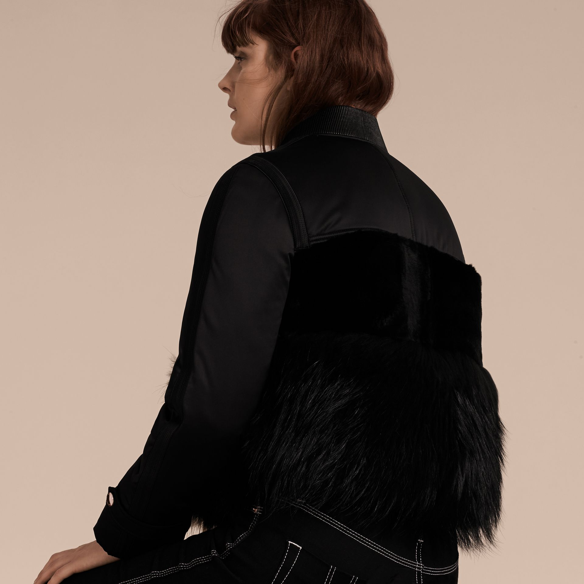 Black Fur-trimmed Satin Bomber Jacket - gallery image 3
