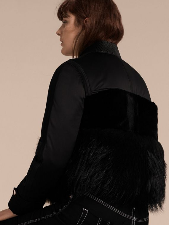 Black Fur-trimmed Satin Bomber Jacket - cell image 2