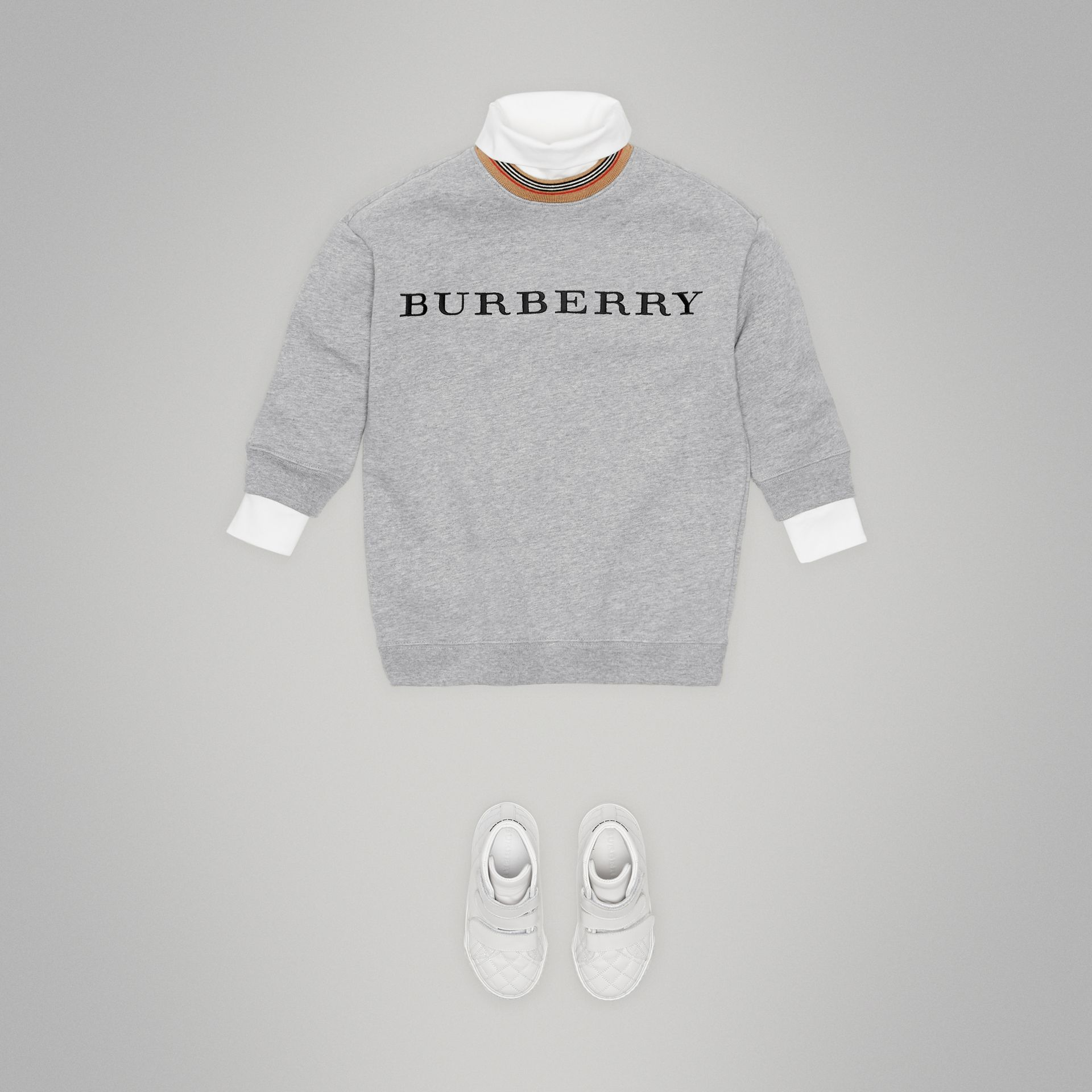 Embroidered Logo Cotton Dress in Grey Melange - Girl | Burberry - gallery image 2