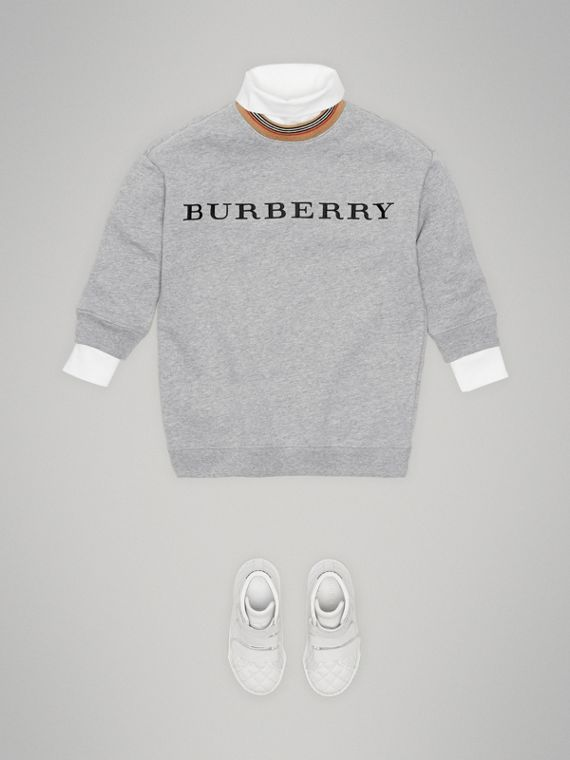 Embroidered Logo Cotton Dress in Grey Melange - Girl | Burberry - cell image 2