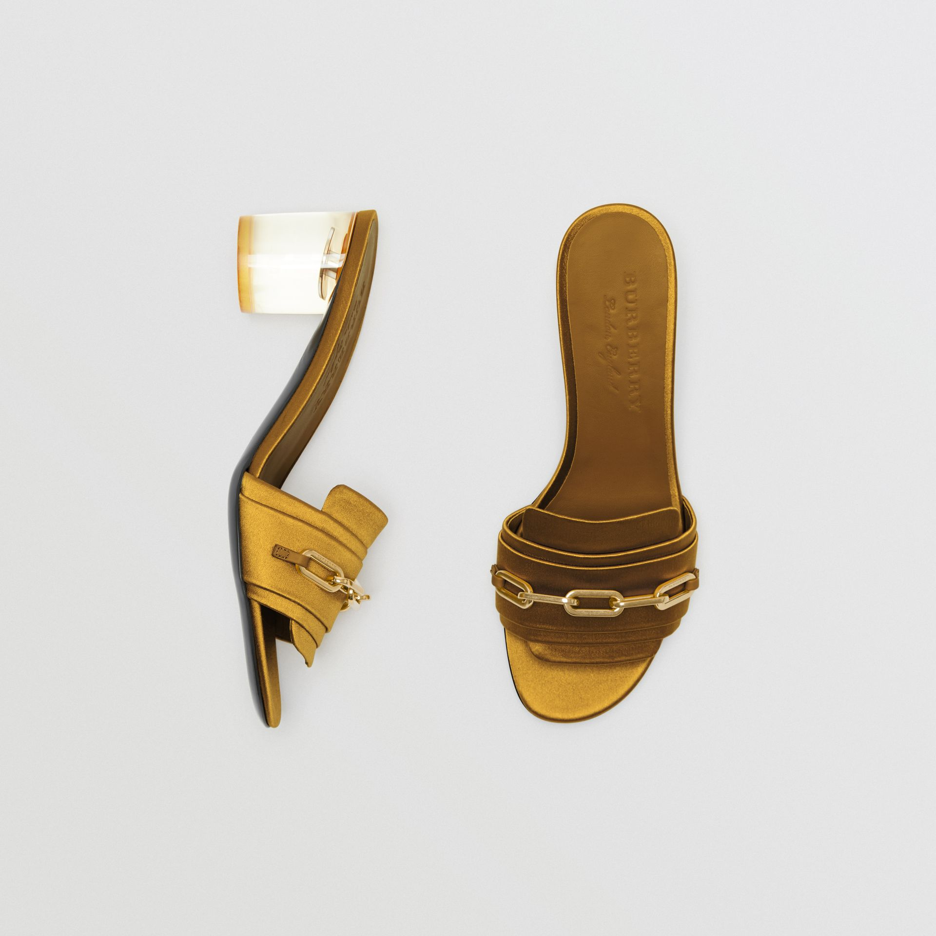 Link Detail Satin Heeled Slides in Antique Yellow - Women | Burberry Canada - gallery image 0