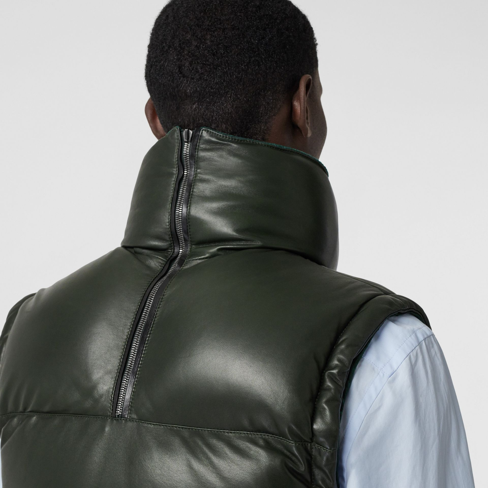 Velvet Trim Down-filled Lambskin Puffer Gilet in Dark Pine Green - Men | Burberry - gallery image 3
