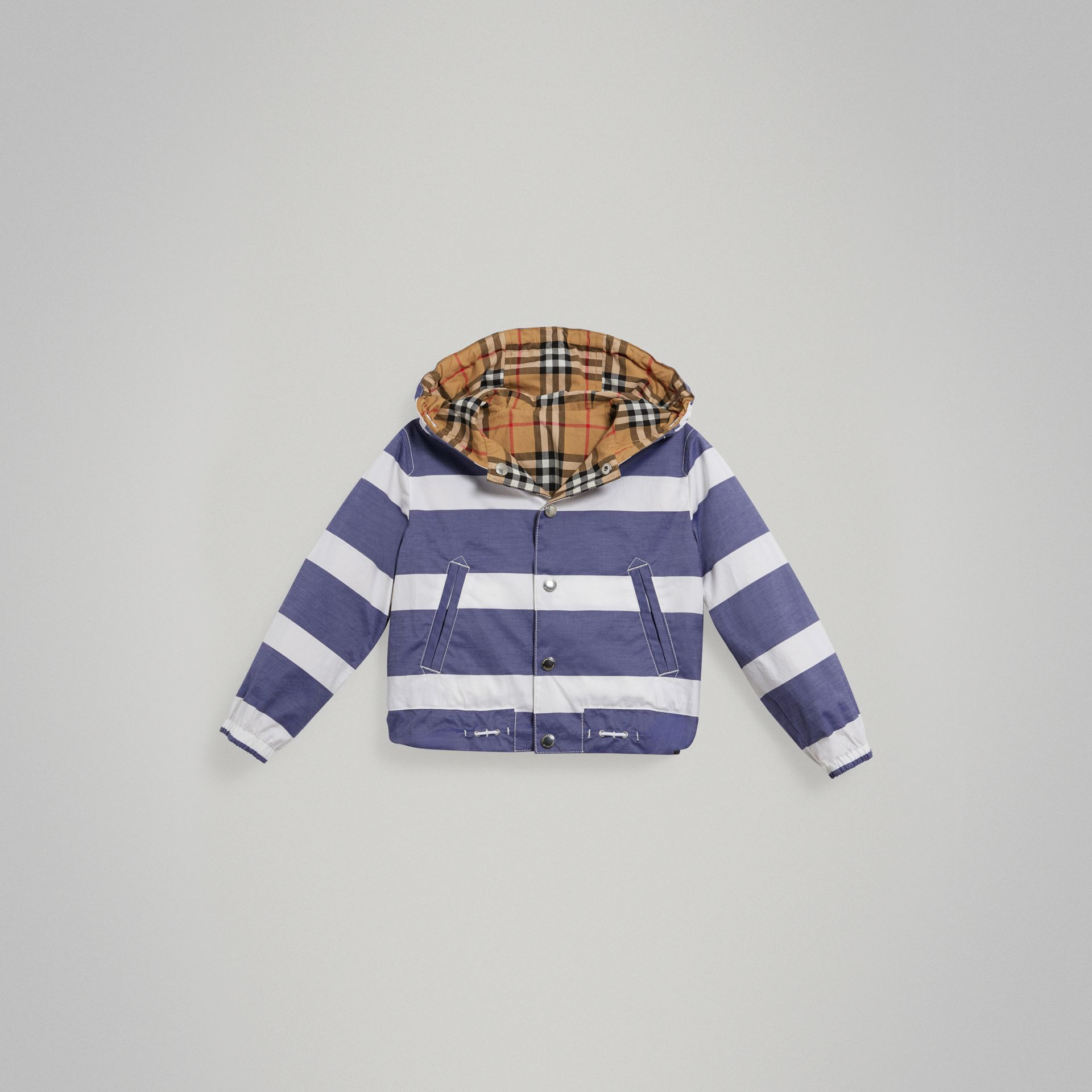 Reversible Stripe and Vintage Check Cotton Jacket in Navy/white - Boy | Burberry United States - gallery image 0