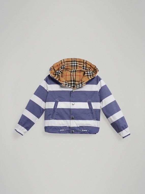 Wendbare Jacke aus Baumwolle mit Streifen und Vintage Check-Muster (Marineblau/weiss)