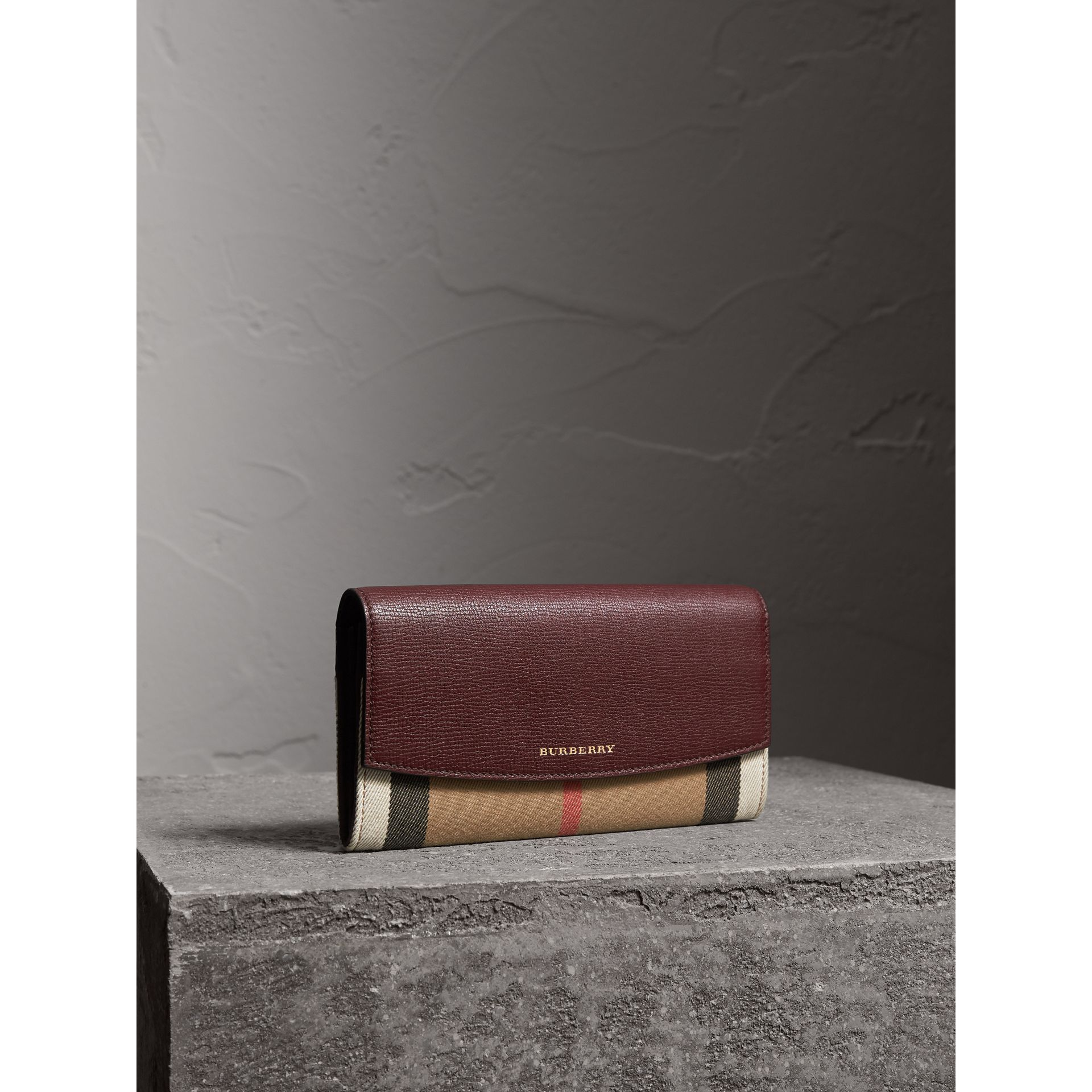 House Check And Leather Continental Wallet in Mahogany Red - Women | Burberry - gallery image 0