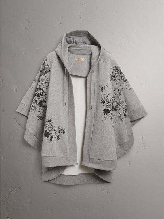 Doodle Print Jersey Hooded Cape in Pale Grey Melange - Women | Burberry - cell image 3