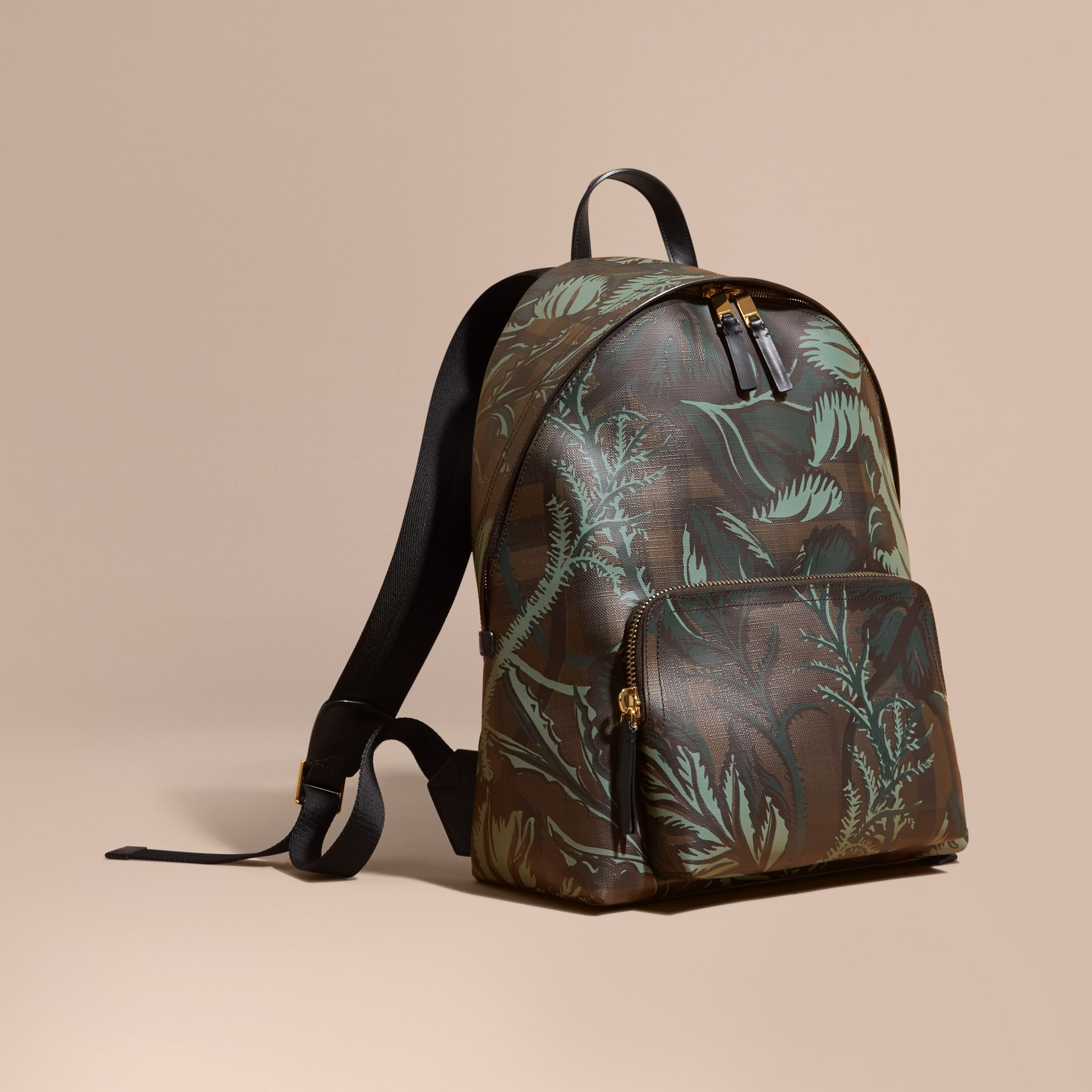 Leather Trim Floral Print London Check Backpack Chocolate - gallery image 1