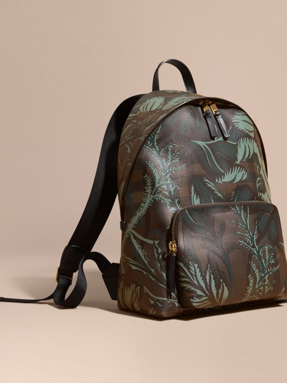Leather Trim Floral Print London Check Backpack Chocolate