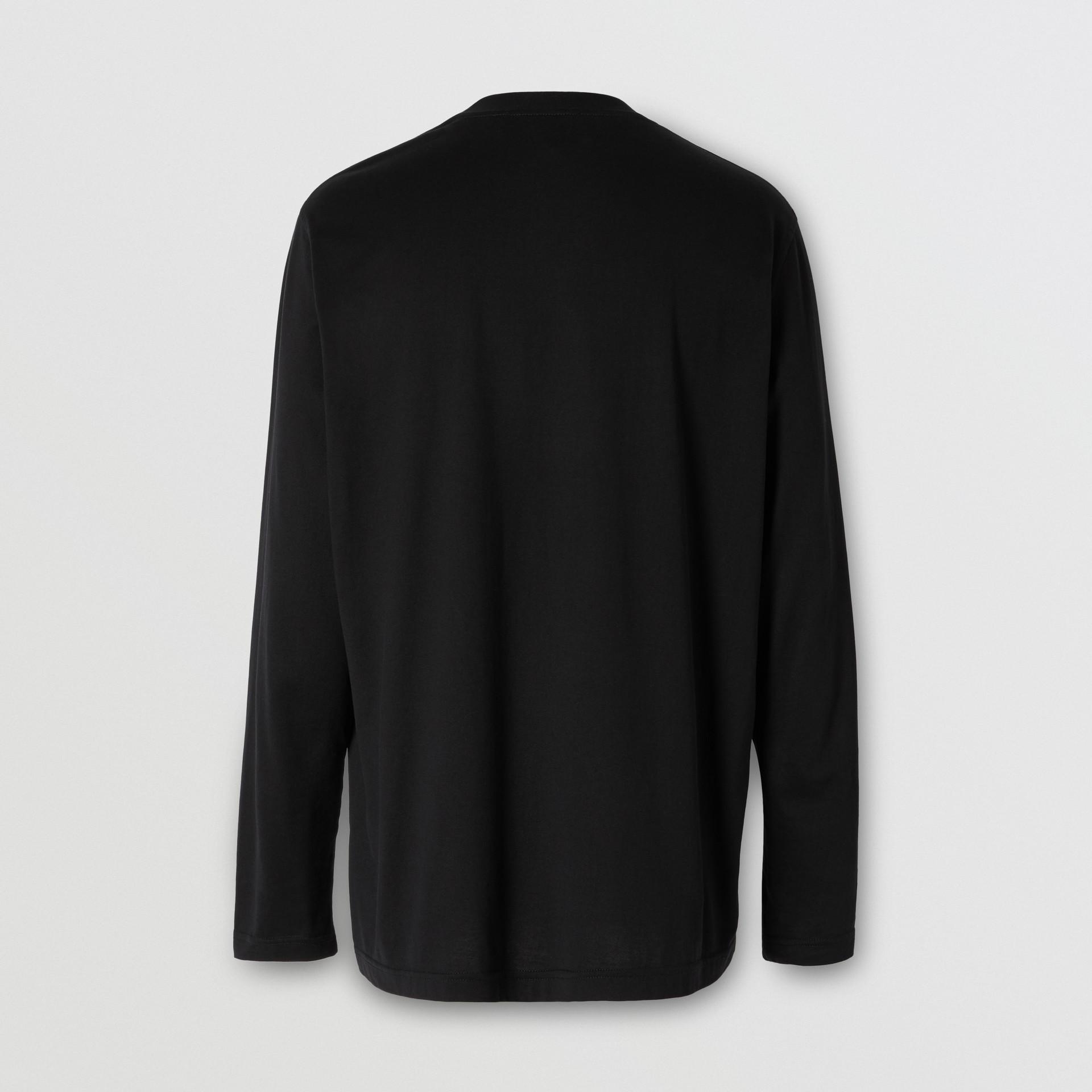 Long-sleeve Monogram Motif Cotton Top in Black - Men | Burberry - gallery image 5