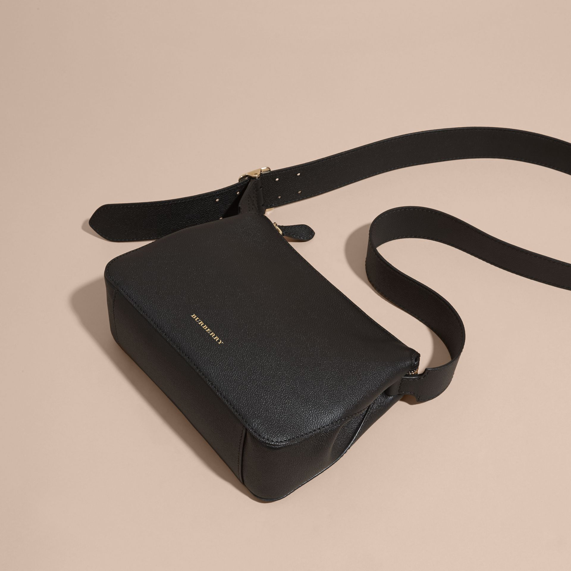 Black Buckle Detail Leather Crossbody Bag Black - gallery image 7