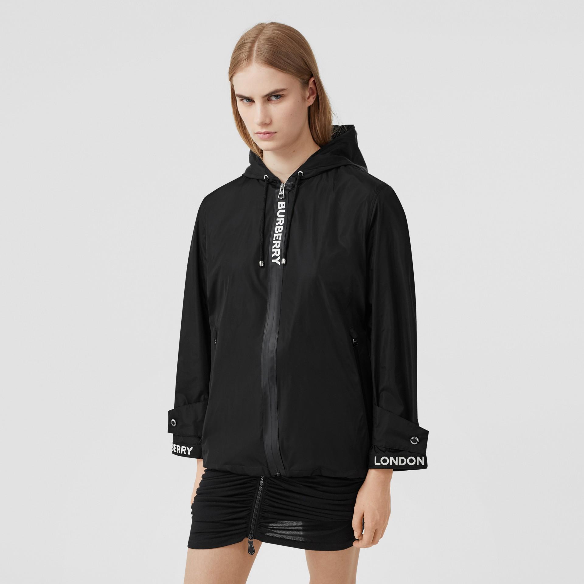 Logo Tape ECONYL® Hooded Jacket in Black - Women | Burberry - gallery image 4