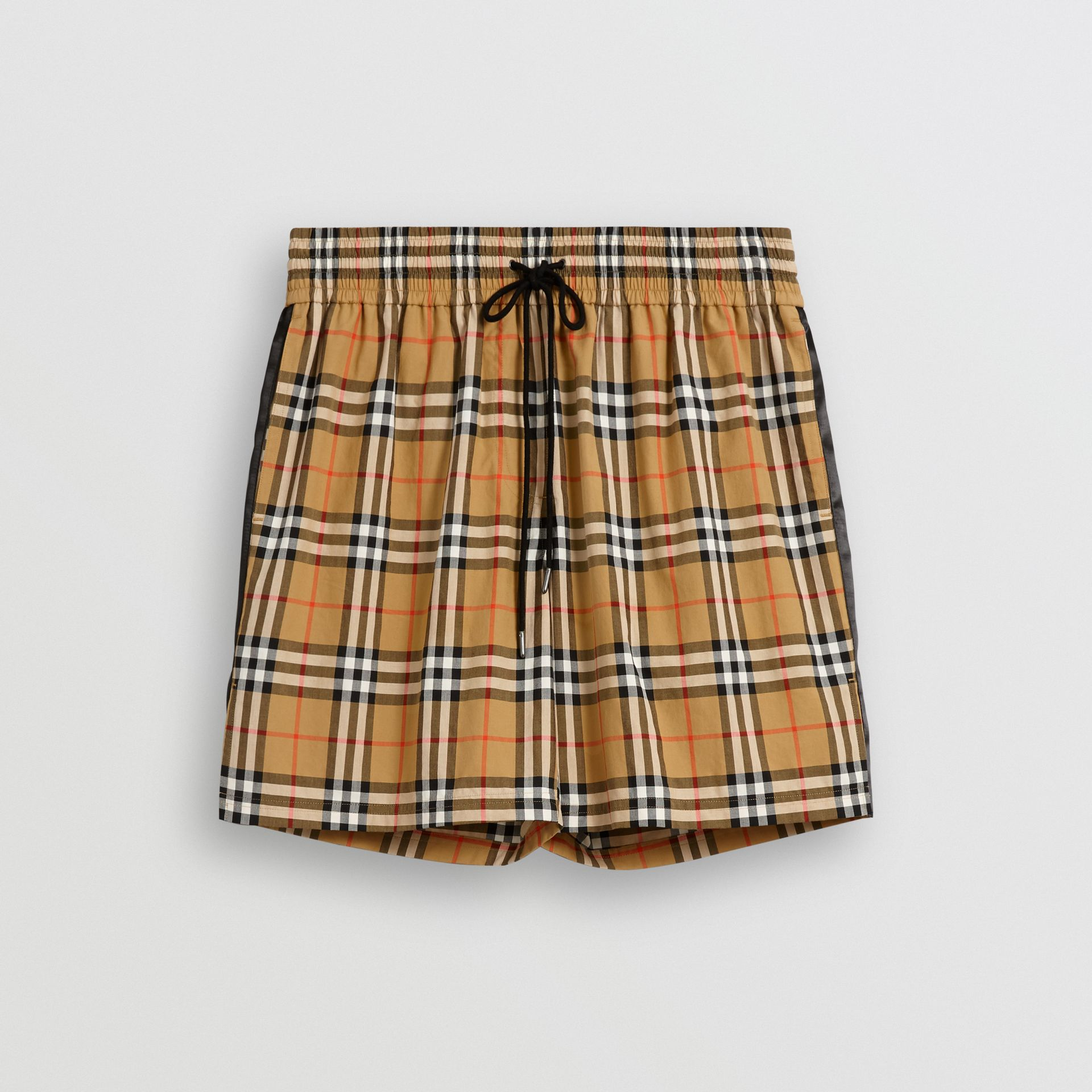 Short à cordon de serrage avec motif Vintage check (Jaune Antique) - Femme | Burberry Canada - photo de la galerie 3