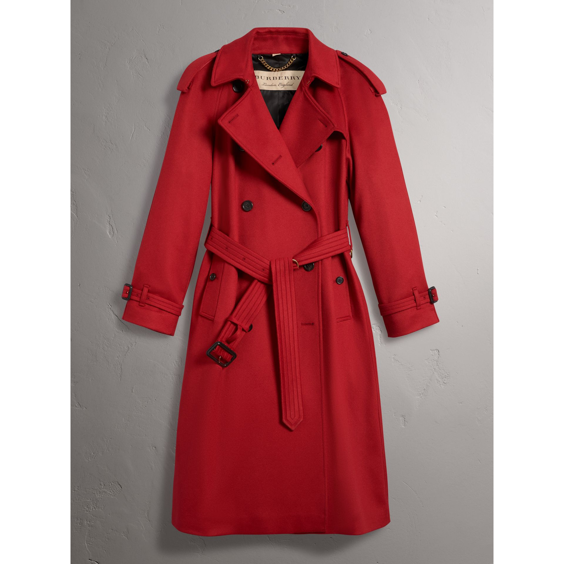 Cashmere Trench Coat in Parade Red - Women | Burberry - gallery image 3