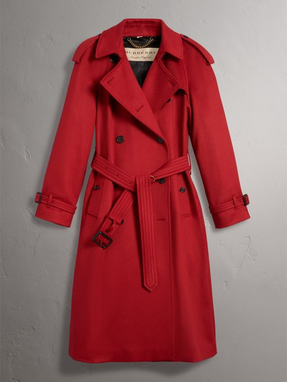 Cashmere Trench Coat in Parade Red - Women | Burberry - cell image 3