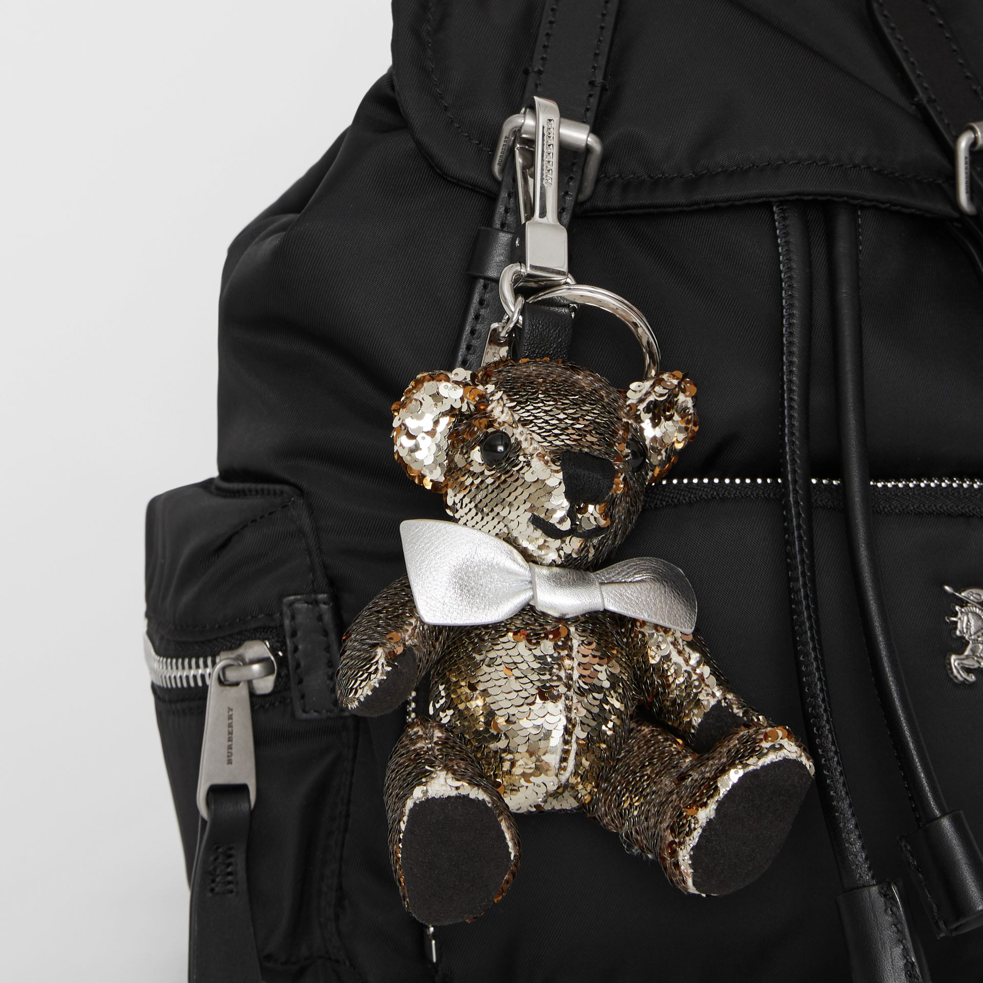 Thomas Bear Charm in Sequins and Leather in Silver | Burberry United Kingdom - gallery image 4