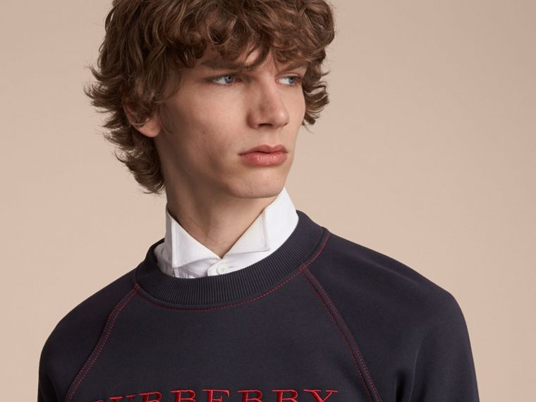 Embroidered Jersey Sweatshirt in Navy - Men | Burberry - cell image 4