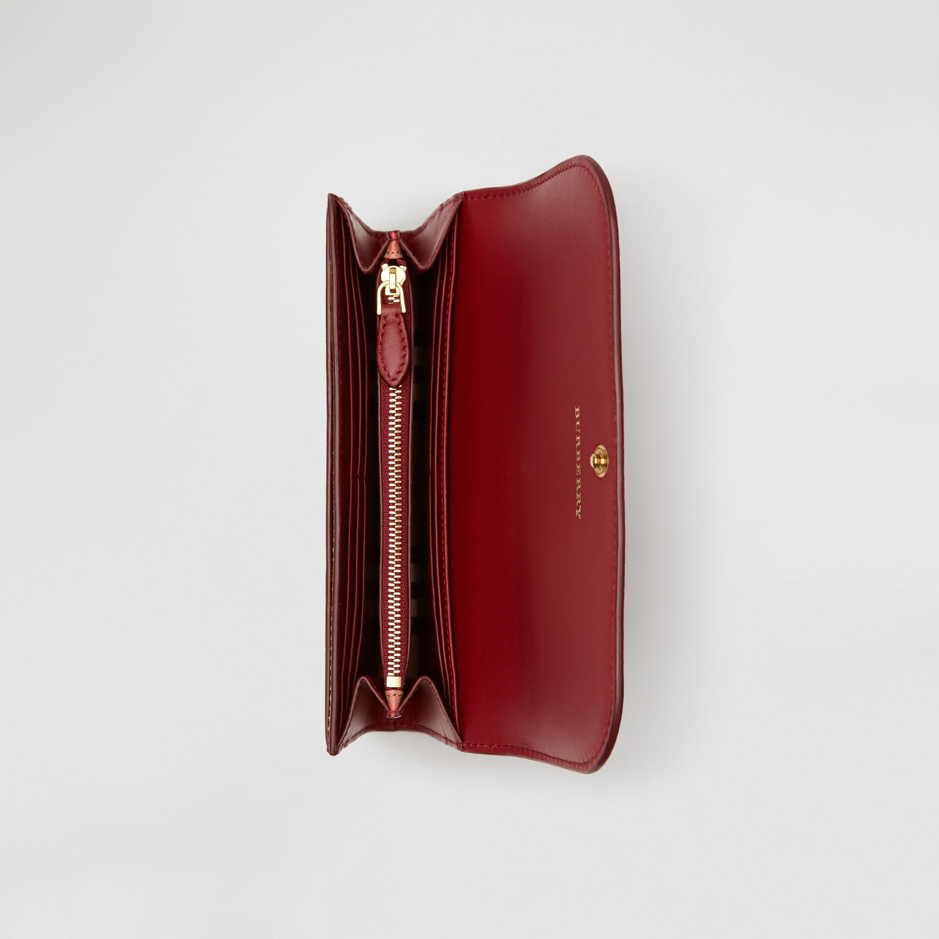 Vintage Check and Leather Continental Wallet in Crimson - Women | Burberry United States - gallery image 3