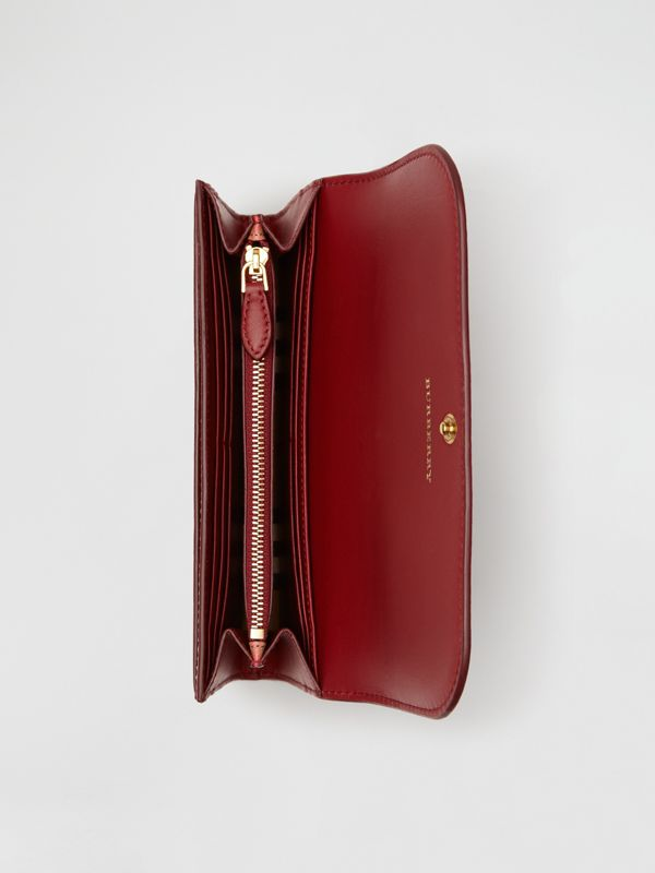 Vintage Check and Leather Continental Wallet in Crimson - Women | Burberry United States - cell image 3