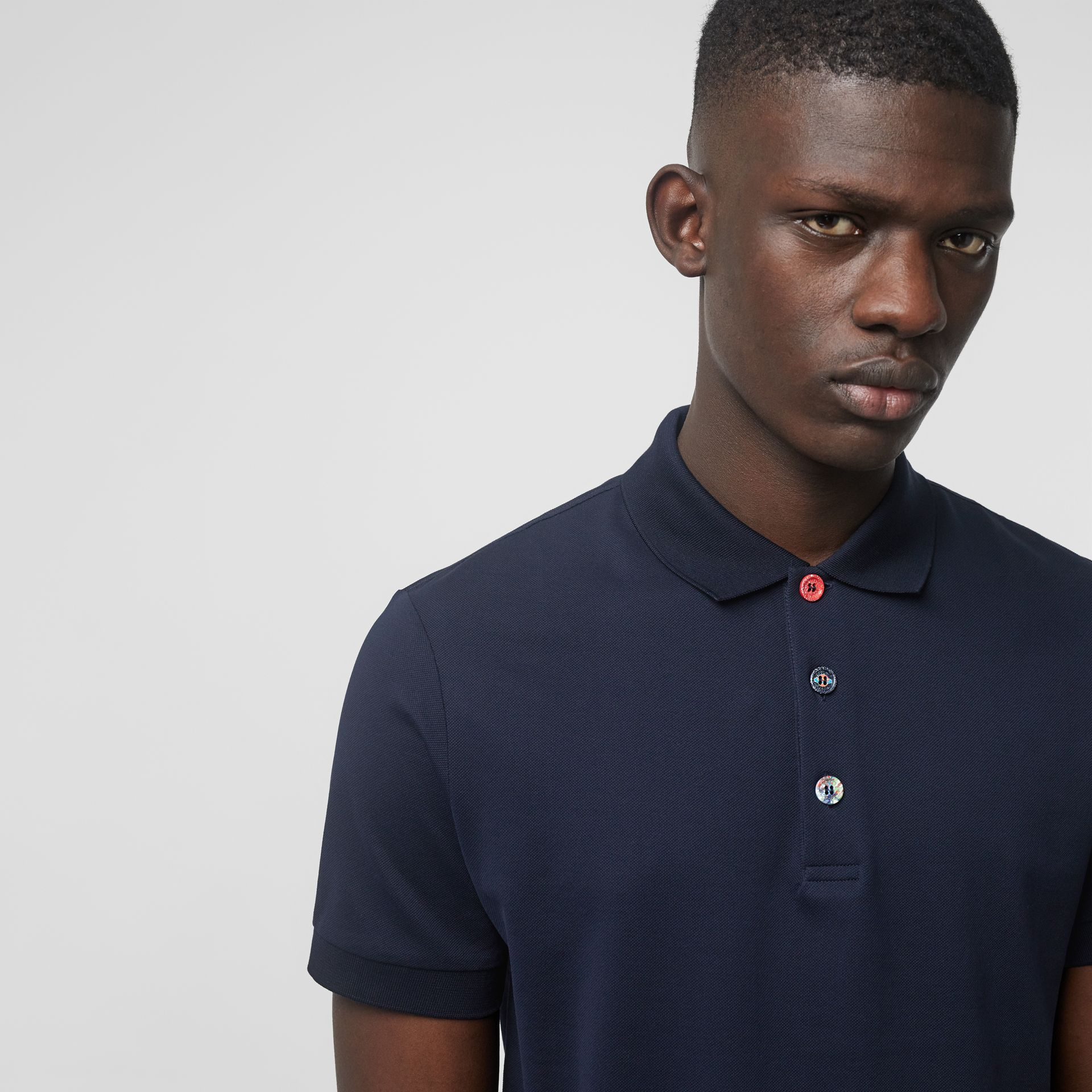 Painted Button Cotton Piqué Polo Shirt in Navy - Men | Burberry - gallery image 1