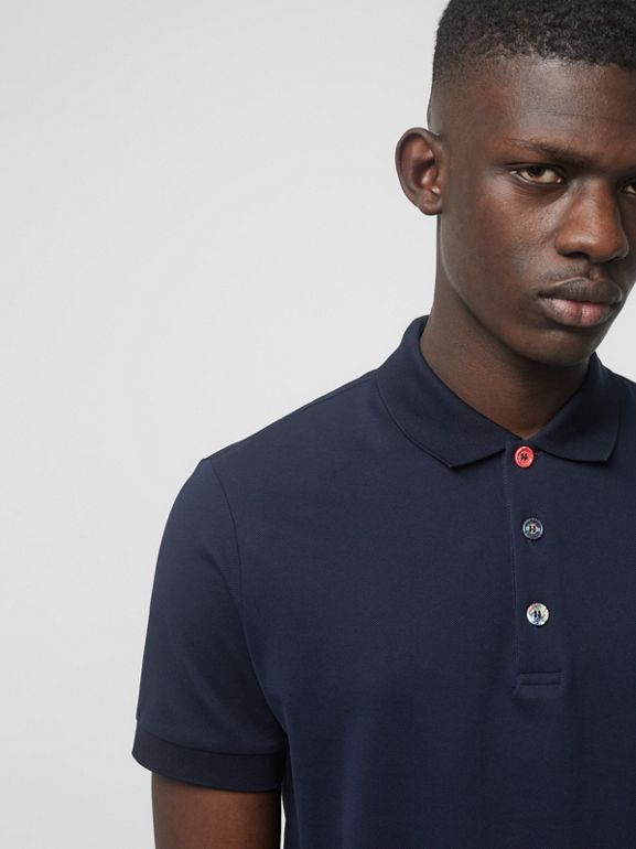 Painted Button Cotton Piqué Polo Shirt in Navy - Men | Burberry Hong Kong - cell image 1