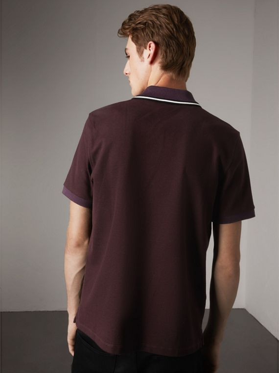Striped Collar Cotton Piqué Polo Shirt in Blackcurrant - Men | Burberry - cell image 2