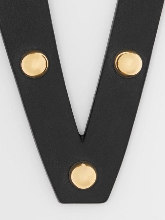 'V' Studded Leather Alphabet Charm in Black/light Gold - Women | Burberry Australia - cell image 1