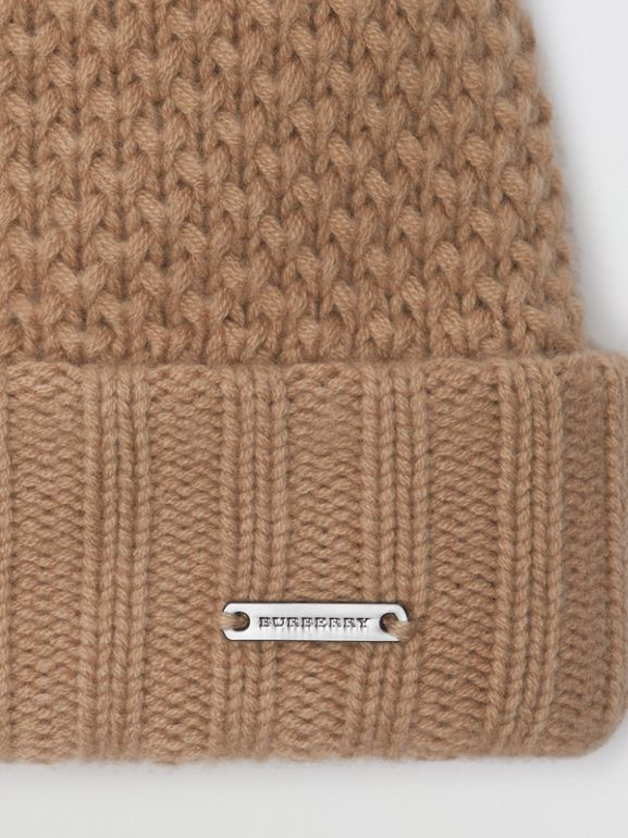 Fur Pom-Pom Wool Cashmere Beanie in Camel - Women | Burberry United States - cell image 1