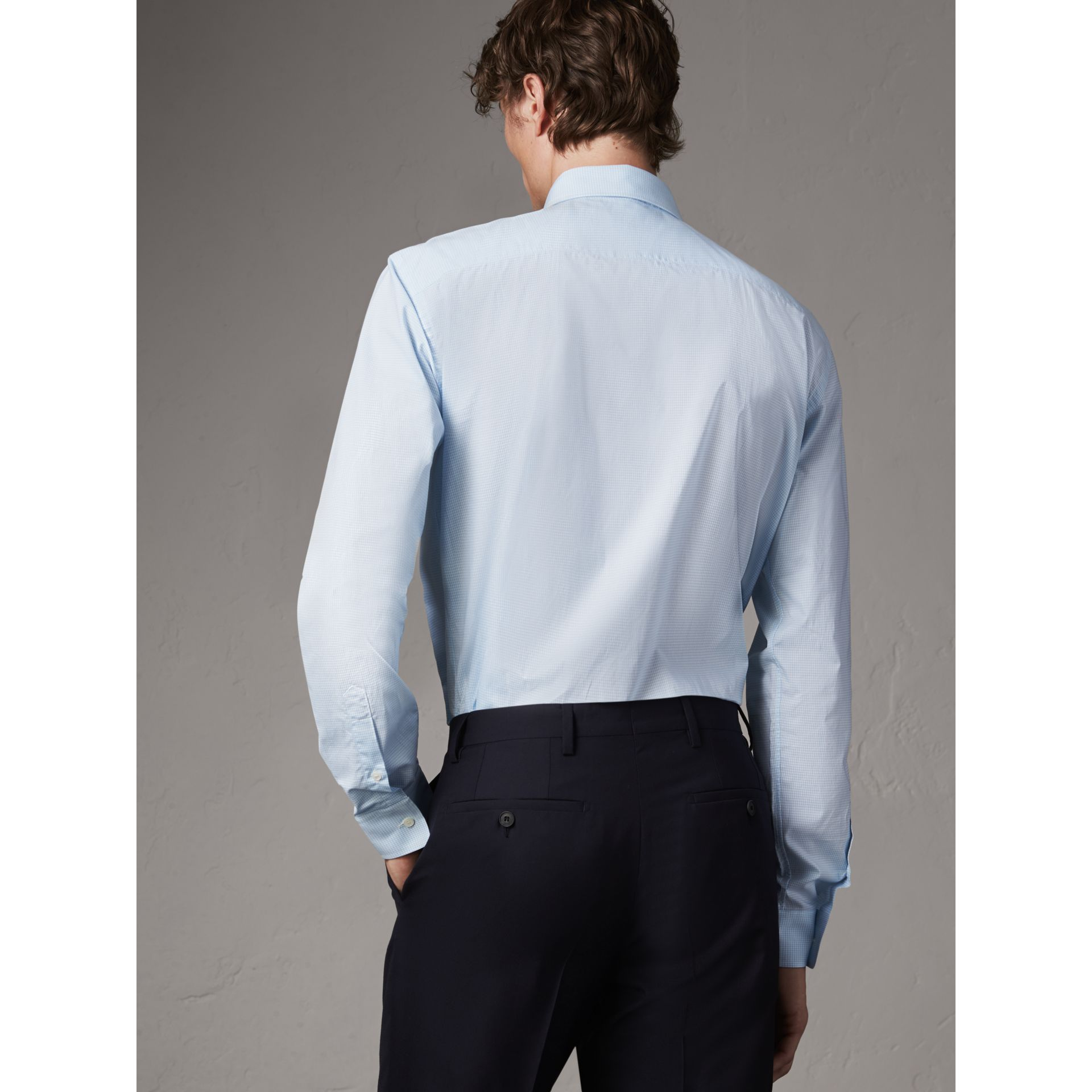 Modern Fit Stretch Cotton Shirt in City Blue - Men | Burberry - gallery image 3
