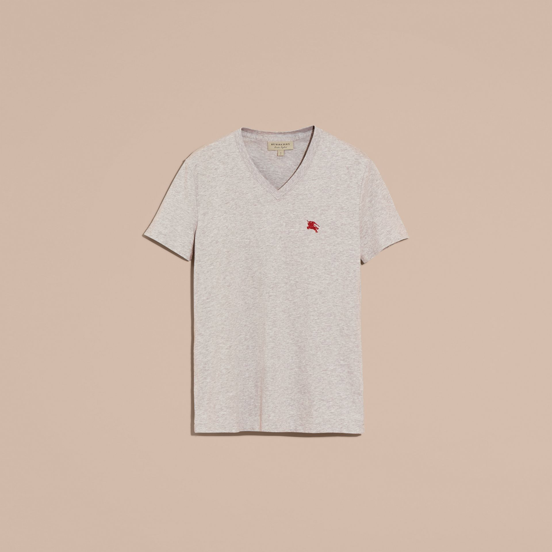 Cotton V-neck T-shirt in Pale Grey Melange - Men | Burberry - gallery image 4