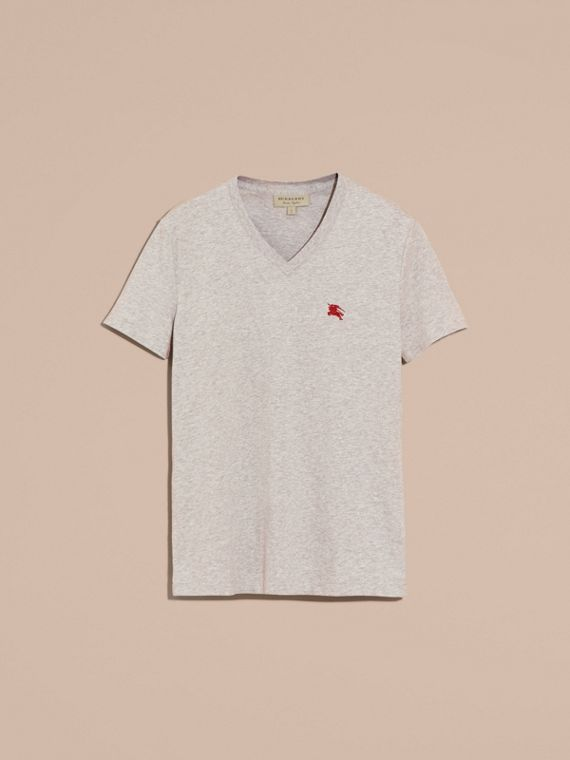 Cotton V-neck T-shirt Pale Grey Melange - cell image 3