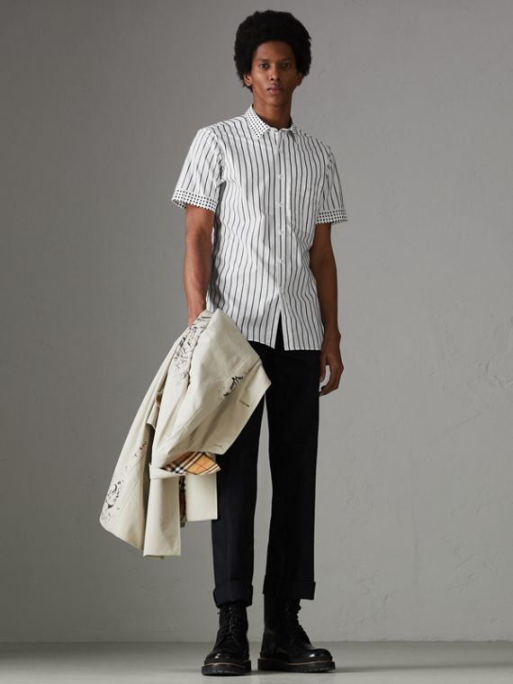 Short-sleeve Stripe and Spot Print Cotton Shirt in Black