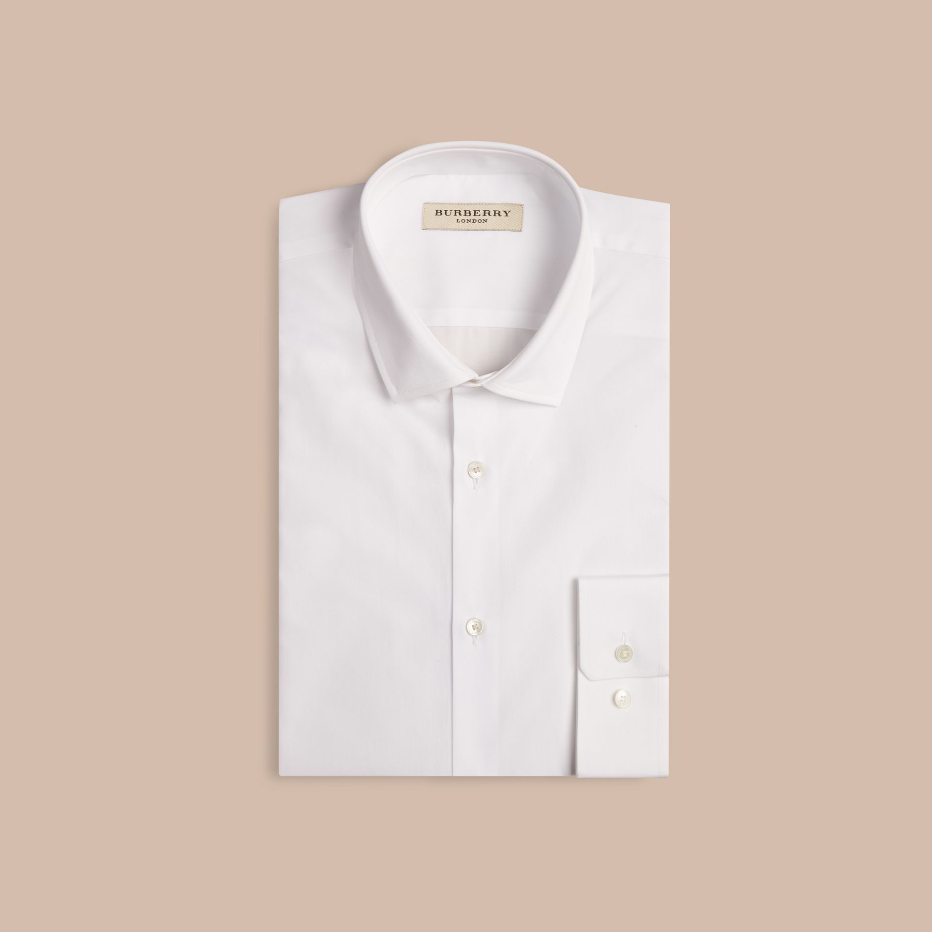 White Modern Fit Cotton Poplin Shirt White - gallery image 4