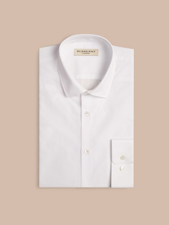 Modern Fit Cotton Poplin Shirt in White - Men | Burberry Singapore