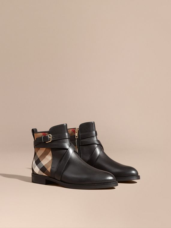Strap Detail House Check and Leather Ankle Boots in Black - Women | Burberry