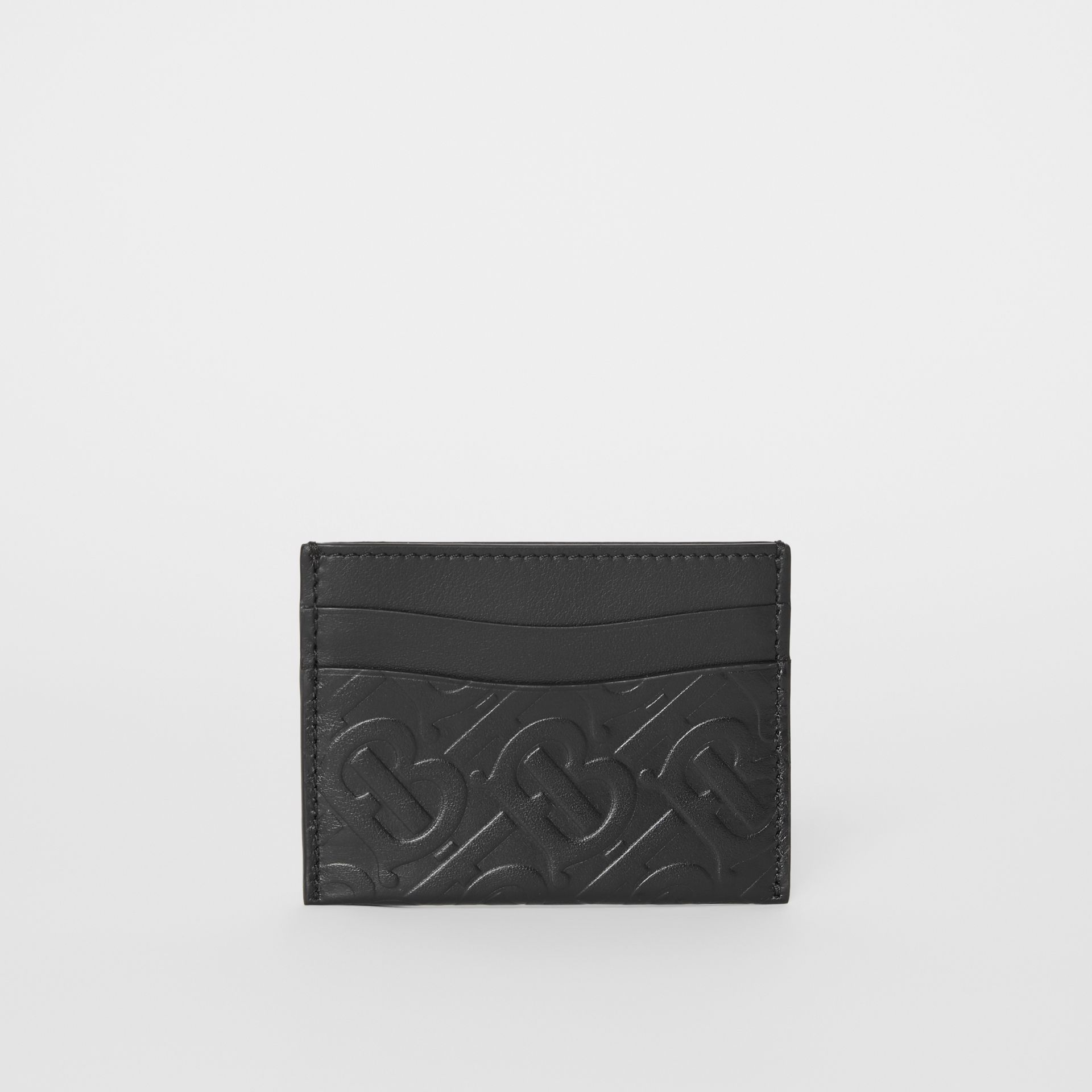 Monogram Leather Card Case in Black - Women | Burberry United Kingdom - gallery image 3