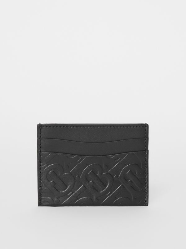 Monogram Leather Card Case in Black - Women | Burberry United Kingdom - cell image 3